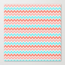 Coral Peach Pink and Aqua Turquoise Blue Chevron Canvas Print