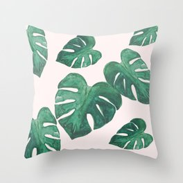 Monstera Leaves on Pink Throw Pillow