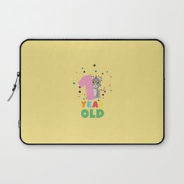One Year old first Birthday Party T-Shirt Dx13p Laptop Sleeve