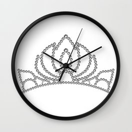 Silver princess crystal crown. Rhinestones diadem.  Wall Clock