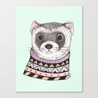ferret Canvas Prints featuring Hipster Ferret by Indi Maverick