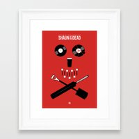shaun of the dead Framed Art Prints featuring Shaun of the Dead - Skull by Nick Kemp