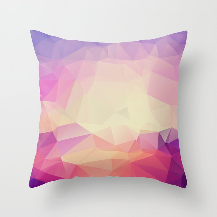 Shining Abstract Polygon Pattern Yellow, Purple, Pink, and Orange Throw Pillow