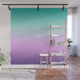 Ombre Pastel Mint Pink Ultra Violet Blurred Gradient Minimal Pattern Wall Mural