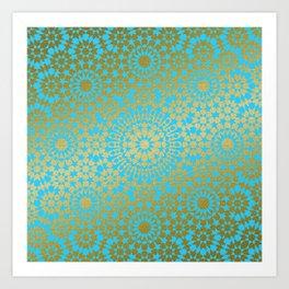 Moroccan Nights - Gold Teal Mandala Pattern 1 - Mix & Match with Simplicity of Life Kunstdrucke