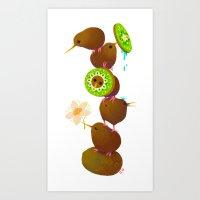 kiwi Art Prints featuring Kiwi by DanBee Kim
