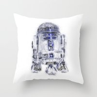 r2d2 Throw Pillows featuring R2D2 by KitschyPopShop