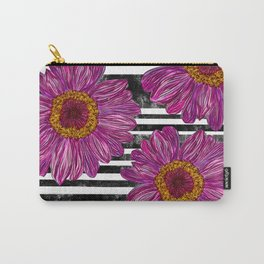 Pink Ink Flowers on Black & White Stripes Carry-All Pouch
