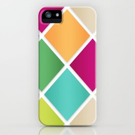 Modern Diamond Geometric Pattern Design // Pink Orange Green Blue iPhone Case