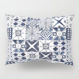 Watercolor Morrocan tile blue pattern Pillow Sham