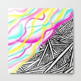 Abstract rainbow neon watercolor paint contrast black white geometric hand drawn stripes pattern Metal Print