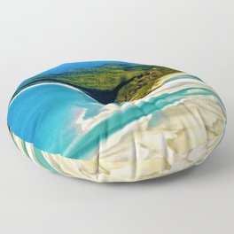 Crystal white sands and turquoise blue waters of Whitehaven Beach – Australia Floor Pillow