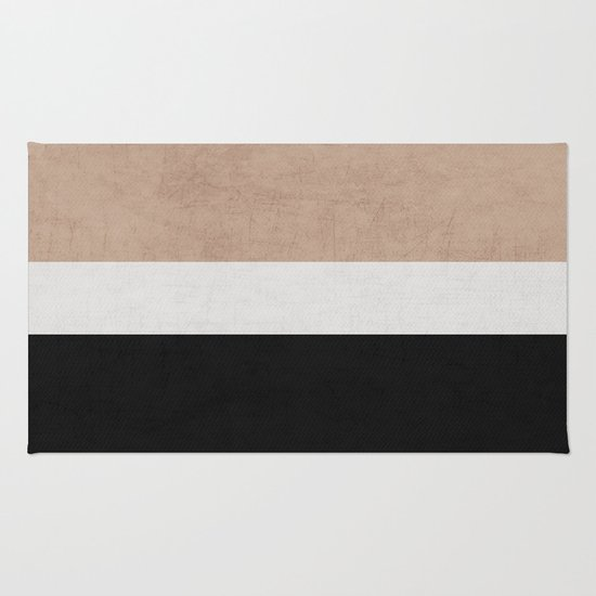 classic - natural, cream and black Rug