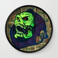 skeletor Wall Clocks featuring Skeletor by Beery Method