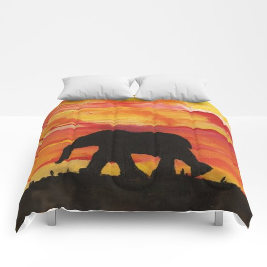 Baby Elephant Sunset Landscape Comforters