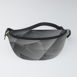 Metallic pattern of chaotic black and white fragments of glass, foil, and silver plates. Fanny Pack