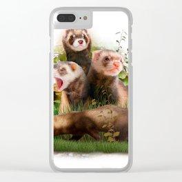 Four Ferrets in Their Wild Habitat Clear iPhone Case