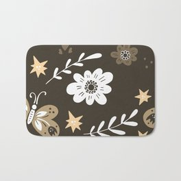 Dark Brown Pattern with White Flowers and light brown butterflies Bath Mat
