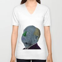 hitchcock V-neck T-shirts featuring Alfred Hitchcock by CultureCloth