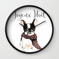 craftberrybush Wall Clocks featuring Joyeux Noel Frenchie Dog by craftberrybush