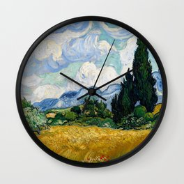 Wheat Field with Cypresses Wall Clock