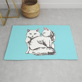 White Maine Coon Cats with Light Blue Rug