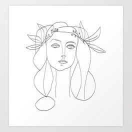 Picasso Line Art - Woman's Head Art Print