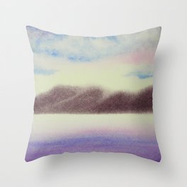 Mountain and Sea 4 / Watercolor Painting Throw Pillow