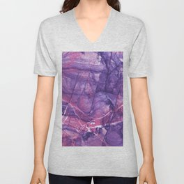 Smokey Ultra Violet and Pink Marble Unisex V-Neck