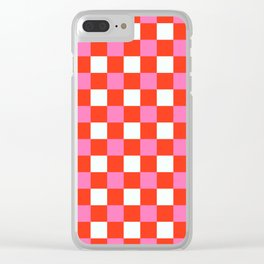 Red Chessboard Clear iPhone Case
