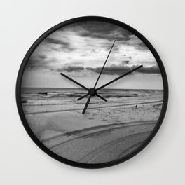 Driving on Assateague Island (Black and White) Wall Clock