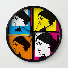VIRGINIA WOOLF (FUNKY COLOURED COLLAGE) Wall Clock
