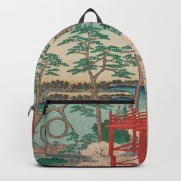 Spring Blossoms and Pond Ukiyo-e Japanese Art Backpack