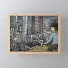 '跳下去的一秒 The Moment While Jumping off' Illustration 1 Framed Mini Art Print