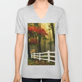 Fall scene with fence Unisex V-Neck