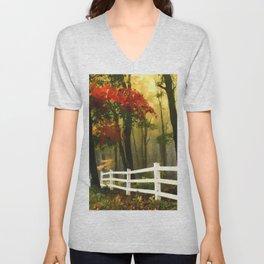 Fall scene with fence Unisex V-Neck