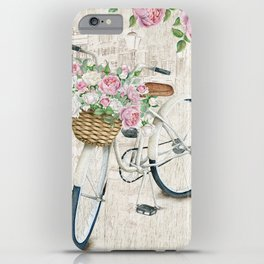 White bike & roses iPhone Case