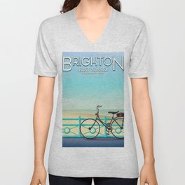 Brighton, East Sussex vintage travel poster. Unisex V-Neck