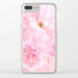 Soft Blue Sky with Pink Peonies Clear iPhone Case