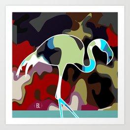 camufage flamingo Art Print
