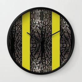 Gothic tree striped pattern mustard yellow Wall Clock