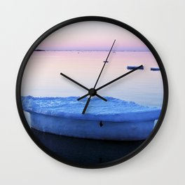Ice Raft at Dusk on Calm Seas Wall Clock