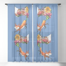 Hunt Flowers Not Foxes Two Sheer Curtain