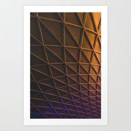 A meshwork of steel beams on an illuminated facade Art Print