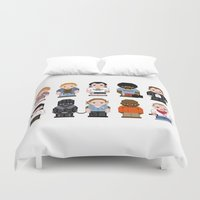pulp fiction Duvet Covers featuring Pixel Pulp Fiction Characters by PixelPower