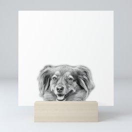 Happy dog face Mini Art Print