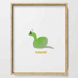 Cute Green Snail Serving Tray