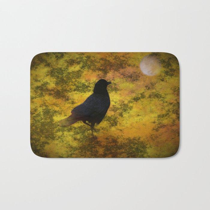 Black Raven Staring At The Moon Digital Art Bath Mat