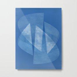 Blue & White Geometric Mid Century Modern Abstract Metal Print