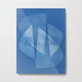 Blue & White Geometric Mid Century Modern Abstract Metal Print